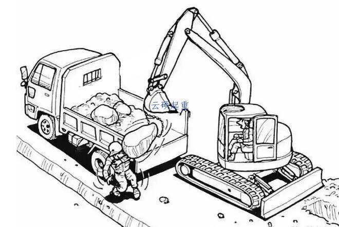 挖机吊装石头