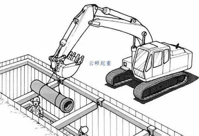 挖机吊装管道到沟内